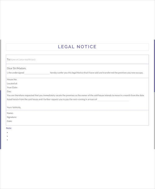 legal notice template