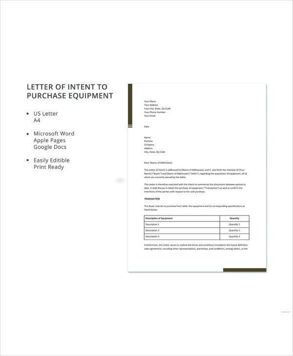 letter of intent to purchase equipment templat