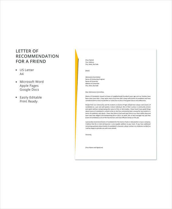Personal Recommendation Letter For A Friend from images.template.net
