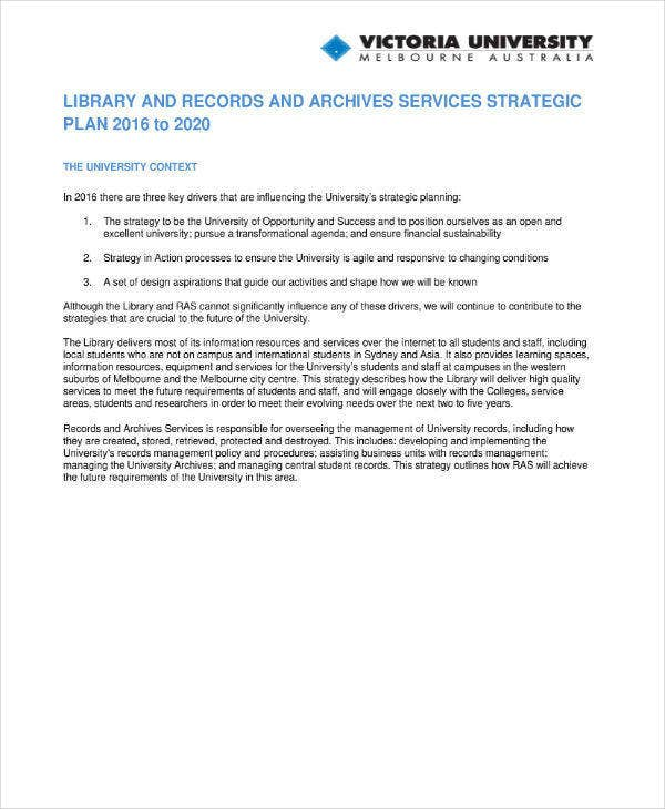 Library Strategic Plan Example