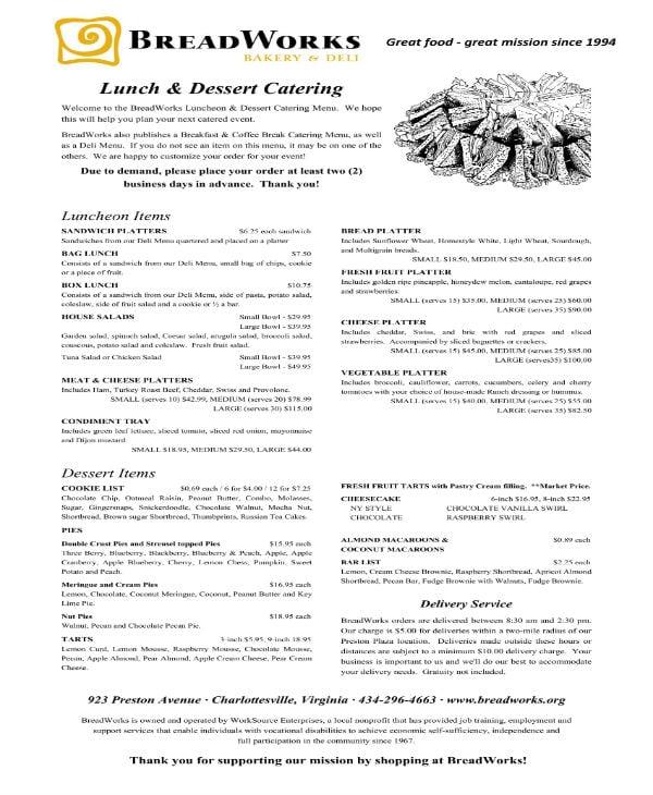 lunch desert catering menu 1