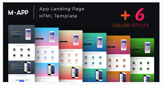 m app mobile app showcase html template