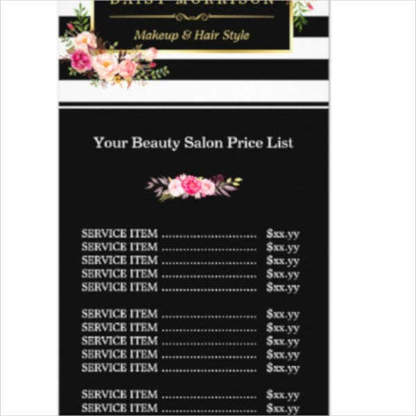 makeup-beauty-salon-gold-price-list-rack-card