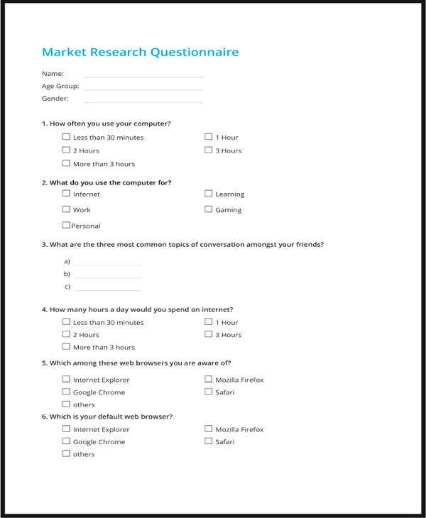 market research questionnaire