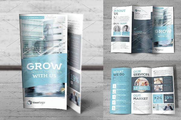 market and business analysis tri fold brochure