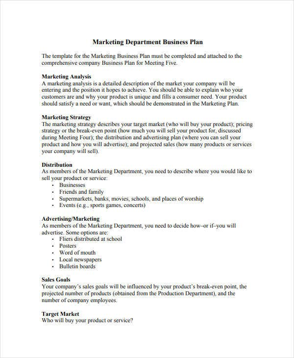 marketing department business plan1