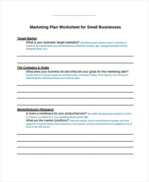 marketing plan worksheet for small businesses