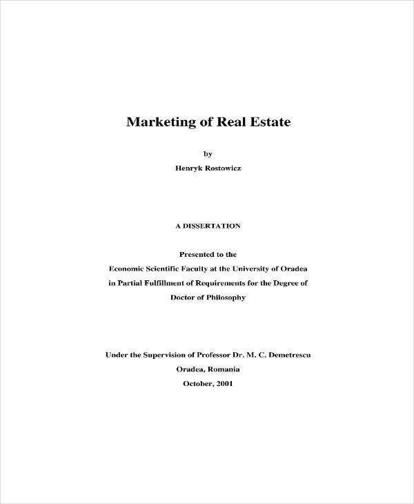 marketing plan of real estate