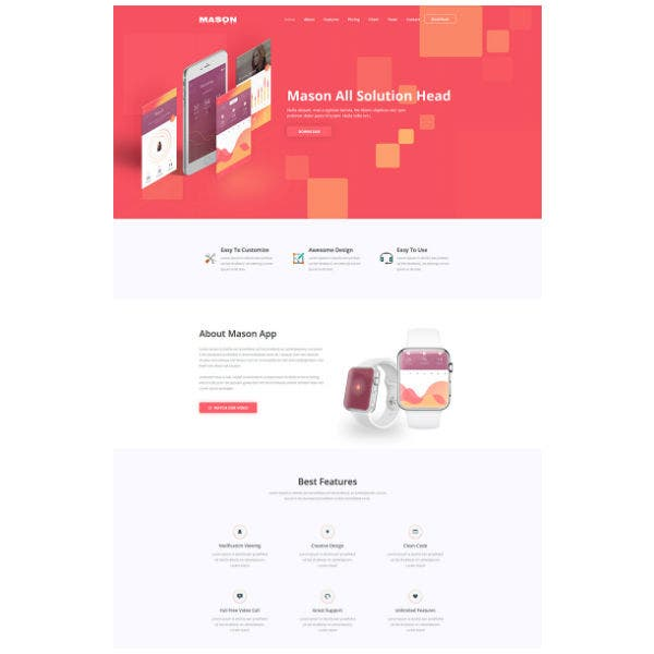 mason app website template