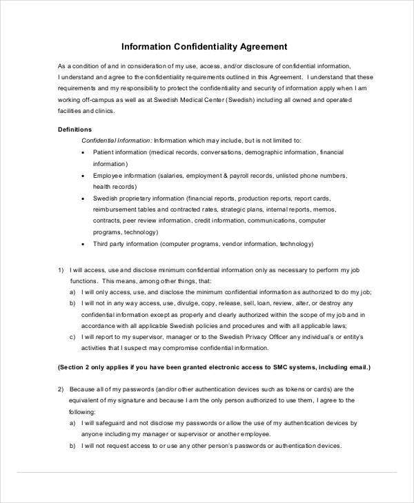 medical information confidentiality agreement