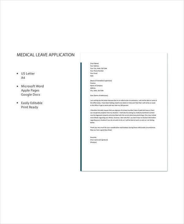 Medical leave letter 12 free word excel pdf documents download medical leave application letter thecheapjerseys Image collections