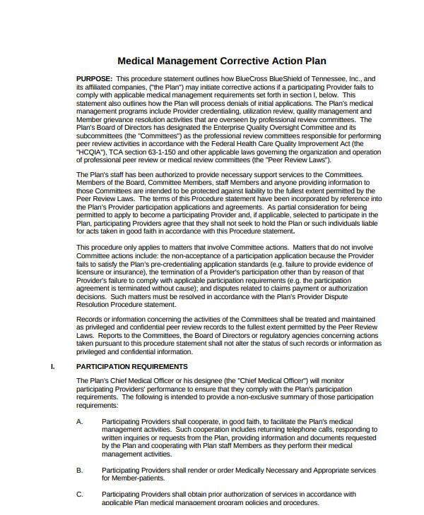 medical management corrective action plan