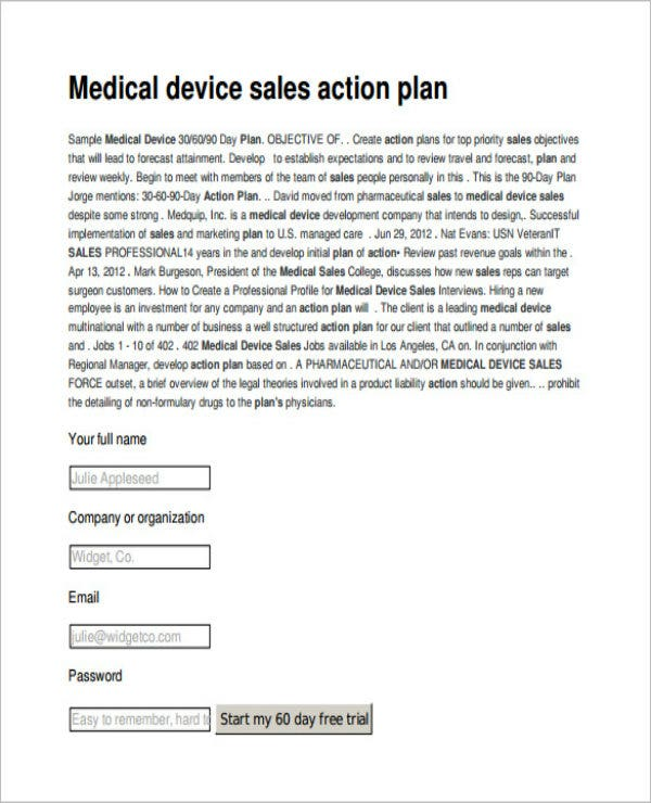 medical sales action plan