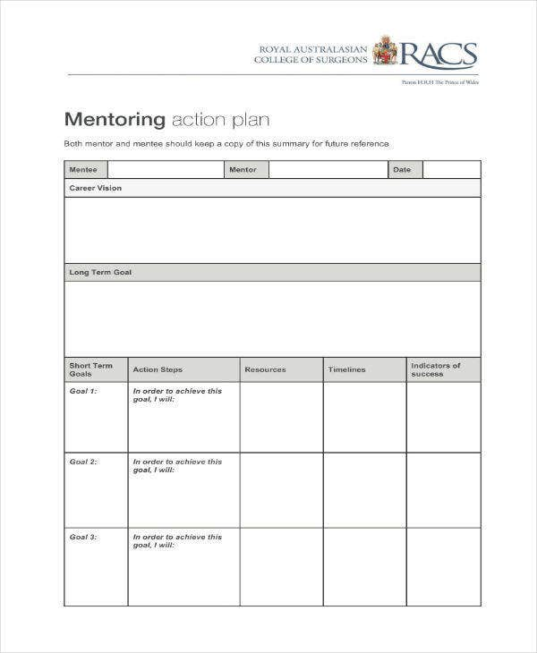 Mentoring Action Plan Example