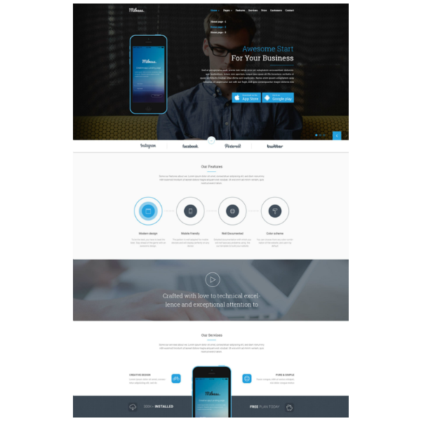 milness showcase mobile app website template