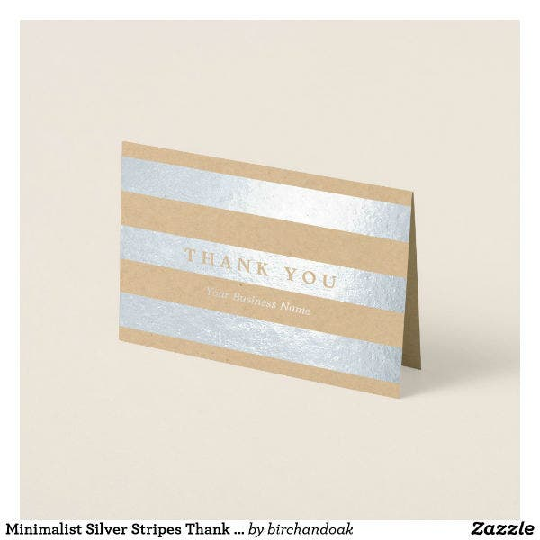 minimalist silver professional thank you card template