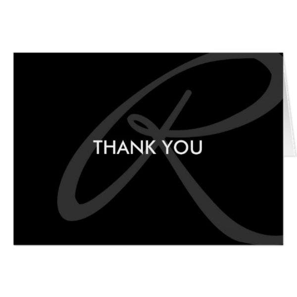 modern monogram professional thank you card template