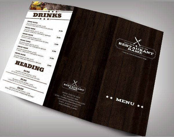 Monochrome Restaurant Menu Brochure Card