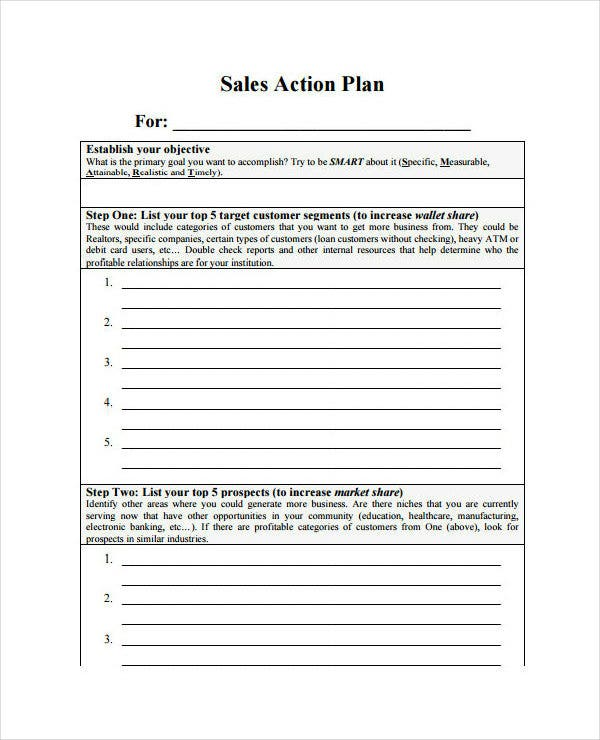 monthly sales action plan