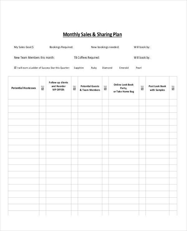 monthly sales and sharing plan