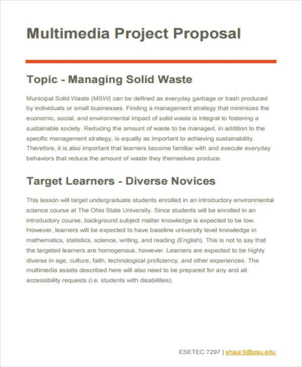 Multimedia Project Proposal Example