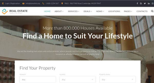 Multipage Real Estate Website Template