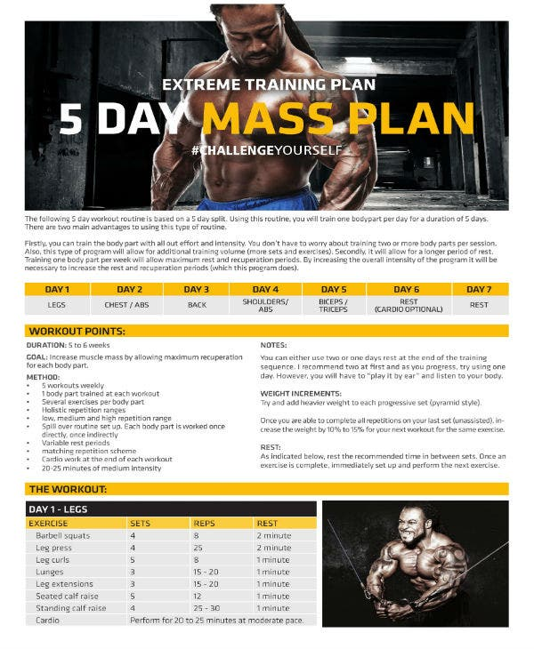 muscle workout training plan 1