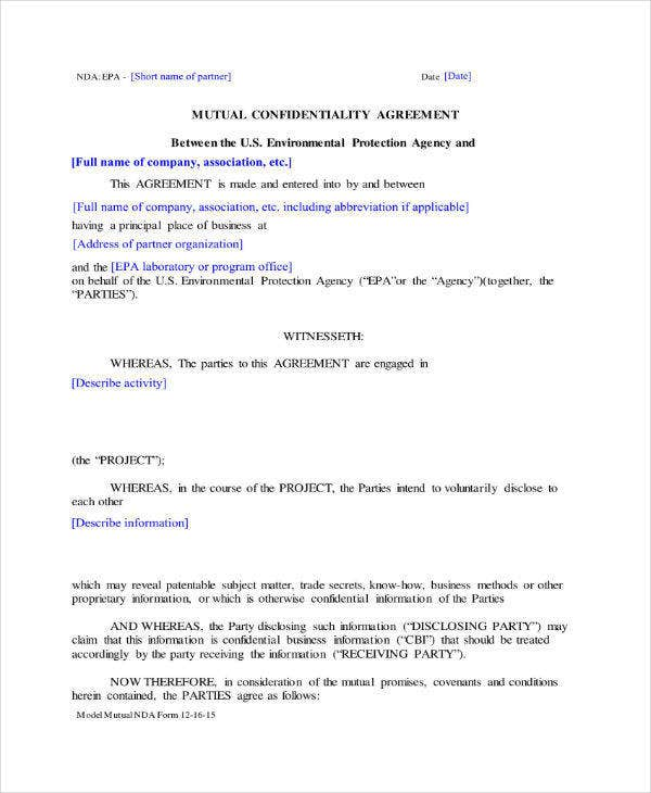 Mutual Confidentiality Agreement Template