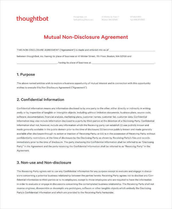 Mutual Non-disclosure Agreement Template