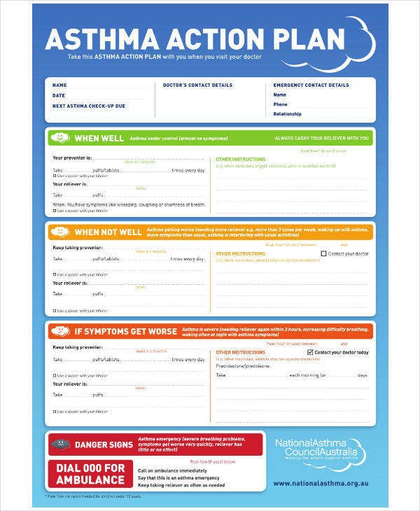 National Asthma Action Plan Template