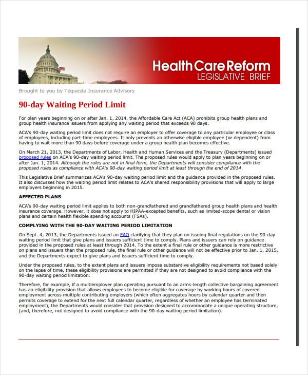 new job 90 days waiting period limit