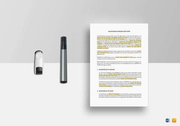 non disclosure agreement beta tester template