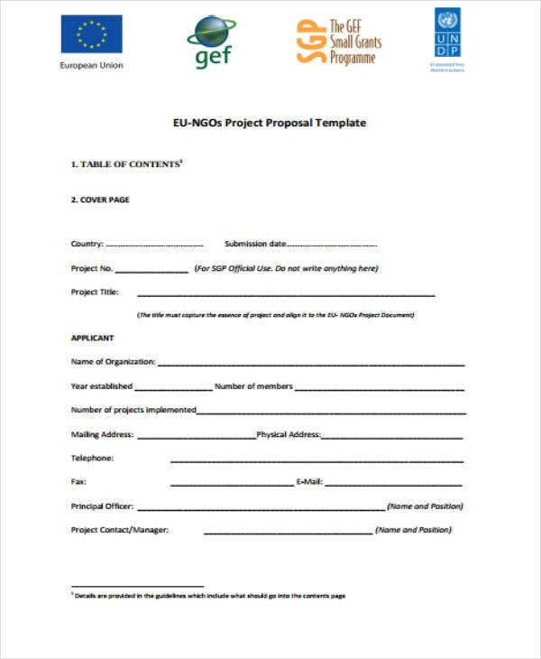 non government organisation project proposal