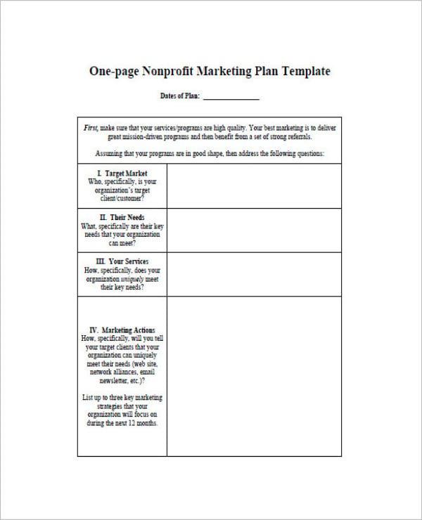 non profit one page marketing plan1