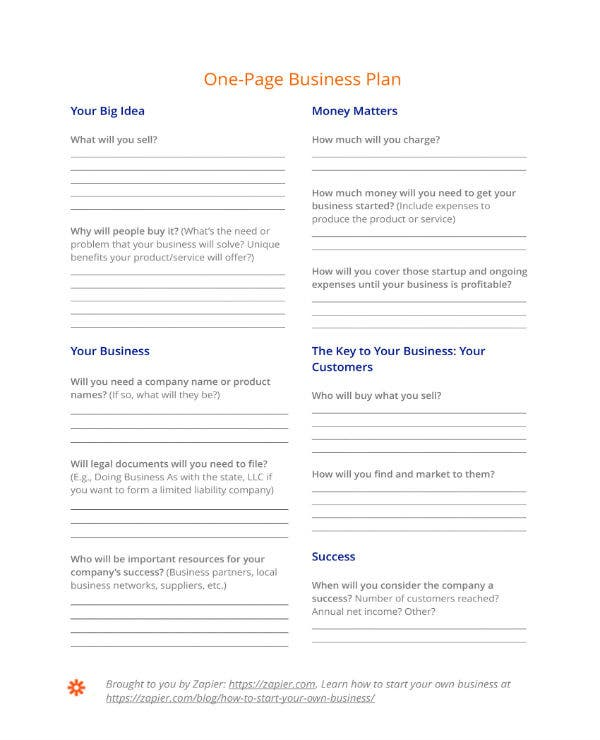 one page business action plan 1