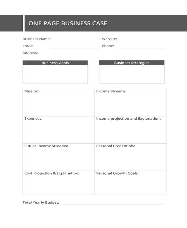 one page business case template