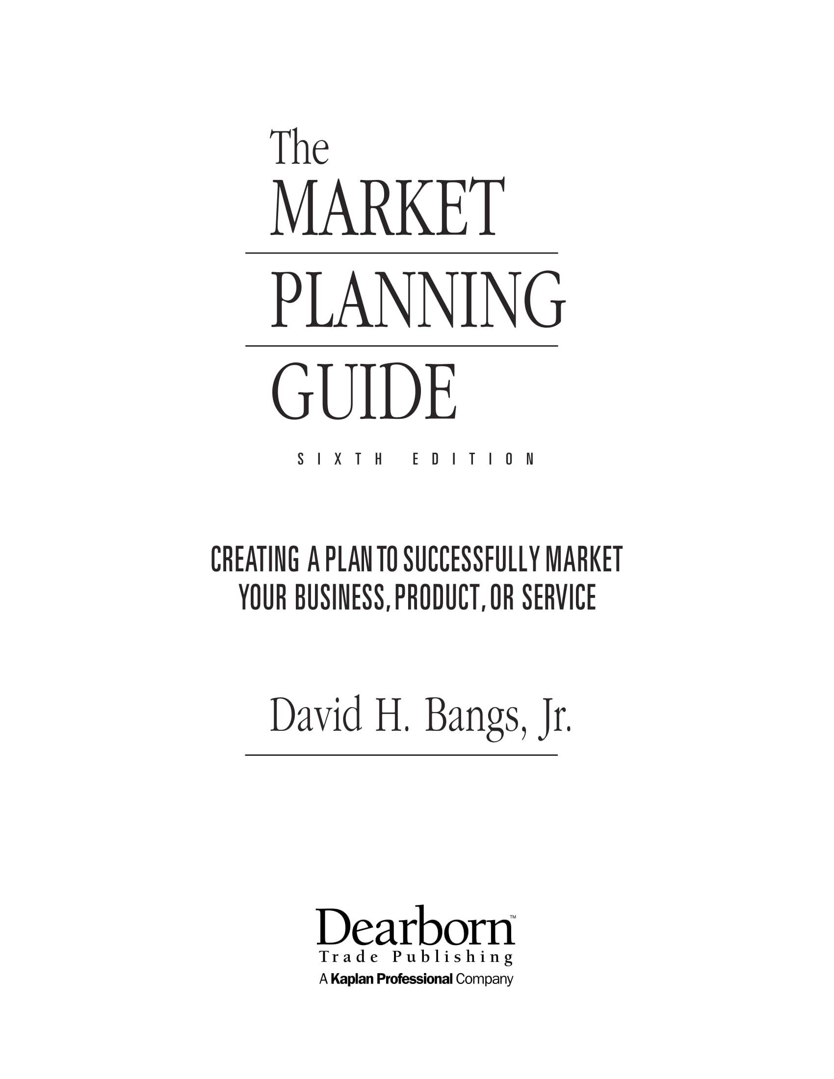 one page marketing plan guide