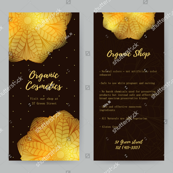 Organic Cosmetics Salon Rack Card Template