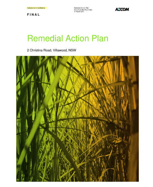 orica villawood remedial action plan
