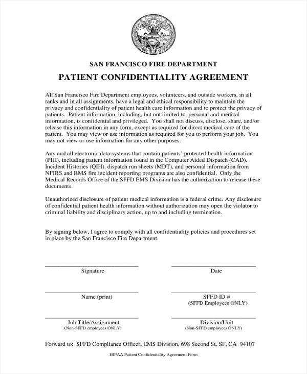 Patient Confidentiality Agreement Example