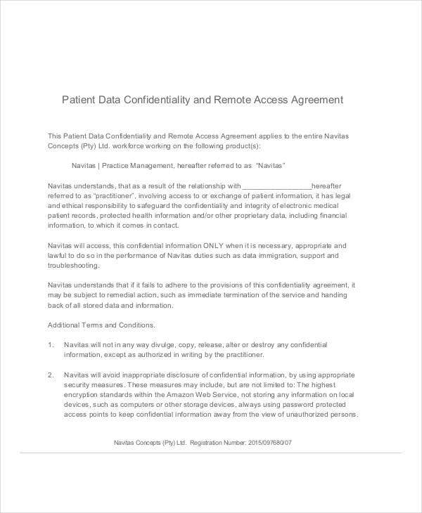 patient data confidentiality agreement