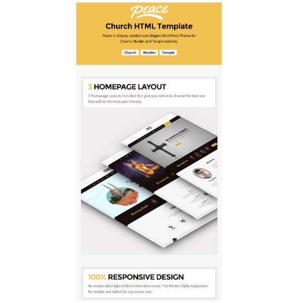 Peace - Church / Muslims / Temple HTML Template