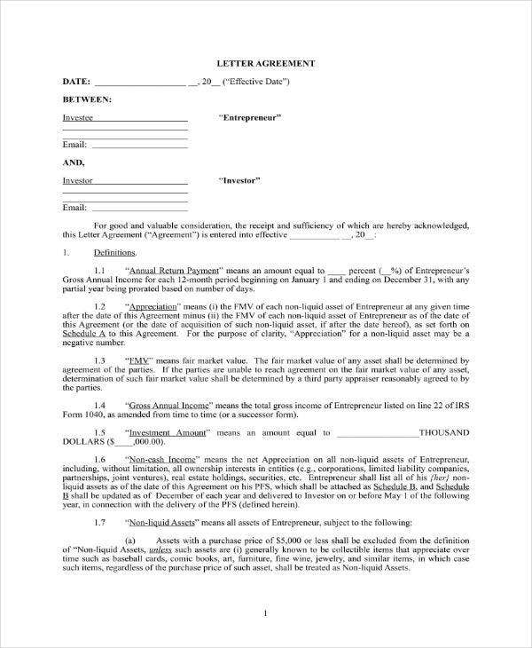 personal investment contract agreement
