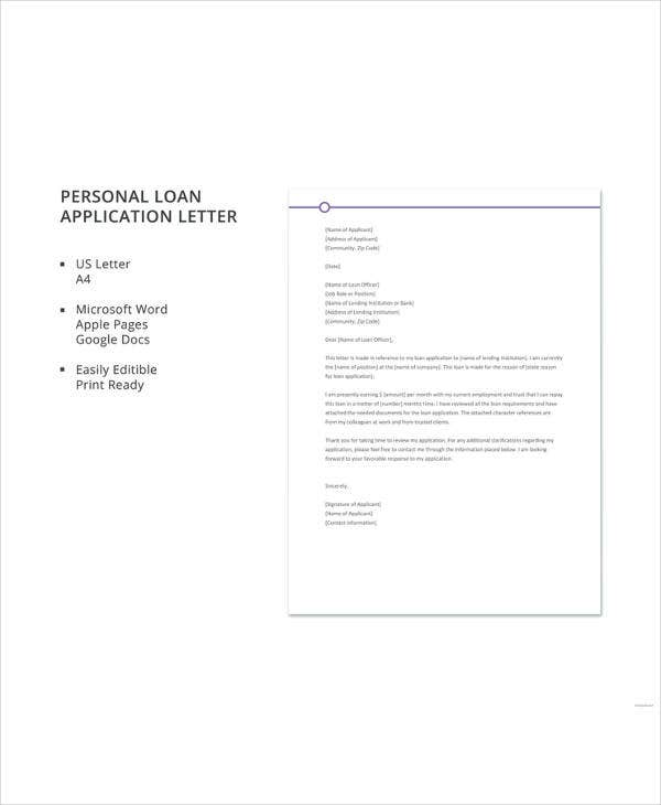 personal loan application letter template