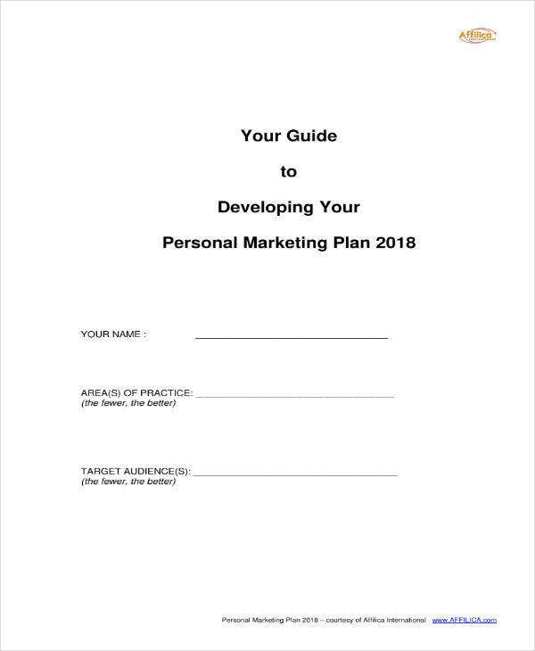 Personal Marketing Plan Sample