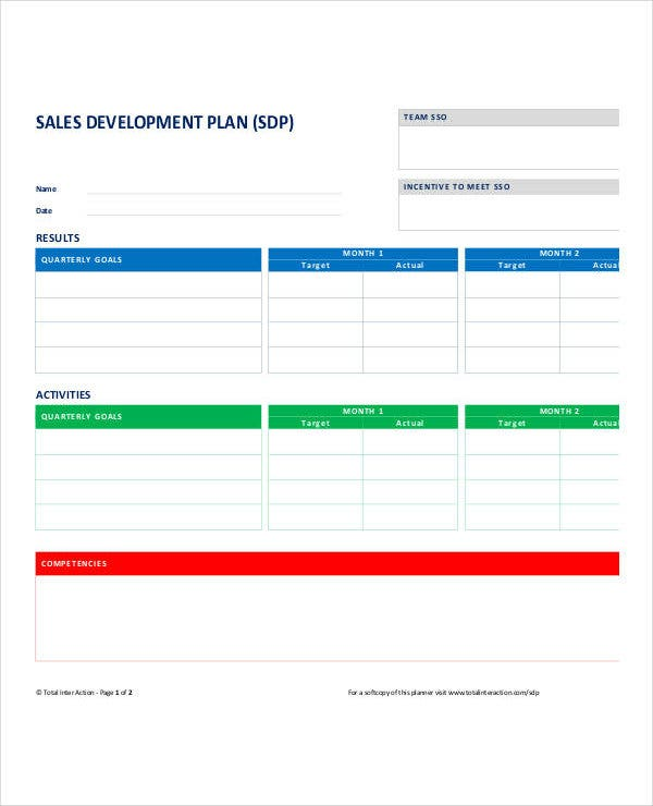 personal sales development plan