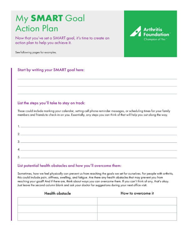 personal smart goal action plan 1