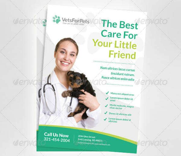 pet veterinary clinic flyer template