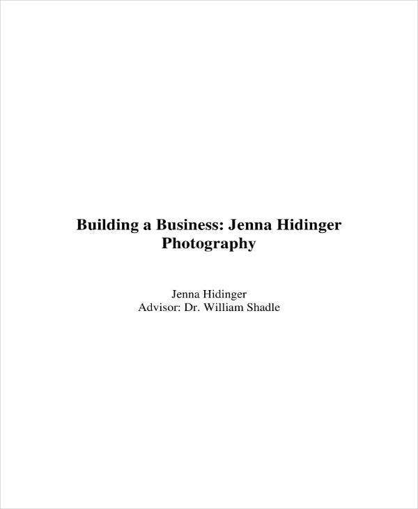 Photography Business Plan Building