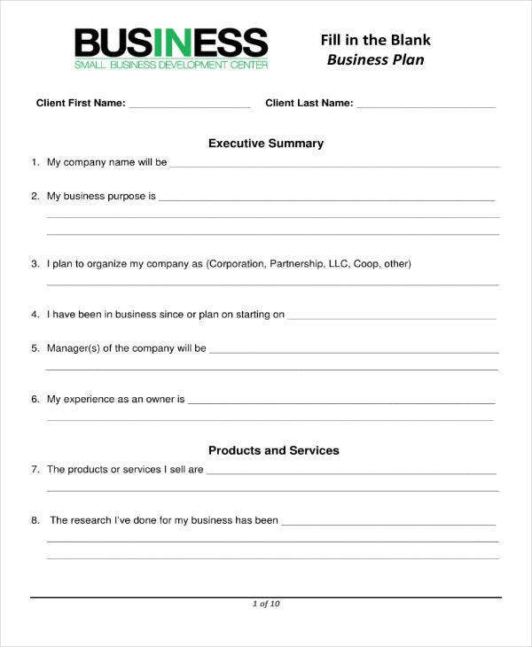 Photography Business Plan Form